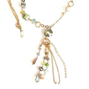 INC Signed Gold Tone Crystal Necklace